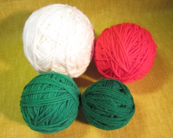 """4 yarn balls, 2 green 3"""", 1 red 4"""", 1 white 5"""", acrylic 4ply worsted weight, 9 oz total"""