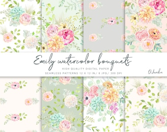 Emily Watercolor Bouquets Seamless Patterns. Digital Paper. Scrapbooking. Floral Illustration. Design. Pink Flowers, Rose, Peony, Fern