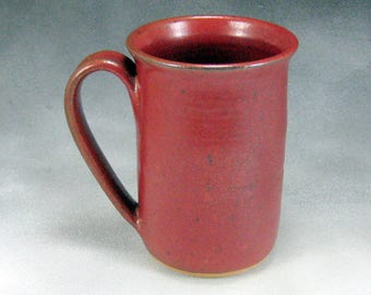 Large Pottery Coffee Mug Red Ceramic Coffee Mug Coffee Cup 16 Ounce Wheel Thrown Pottery