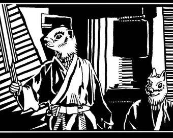 """Long-Sleeve Unisex T-shirt - """"Use the Force, Luke.."""" Luke Squirrel Walker and Obi Chipmunk Kenobi check out Luke's new Lightsaber!"""