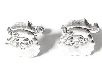 Santa Claus Cufflinks- Silver OR Gold- Mens Handcrafted St Nick Kris Kringle Christmas Cuff Links Winter Holiday Stocking Stuffer Mans Gift