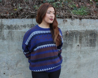 Vintage Blue Geometric Print Sweater
