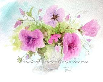 Original watercolor, watercolor painting, bouquet of flowers, petunia painting, art flowers, pink flowers, summer flowers, gift, wall art