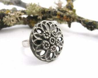 SUPER SALE! Flower Button Ring  - Hand Cast in Sterling Silver OOAK