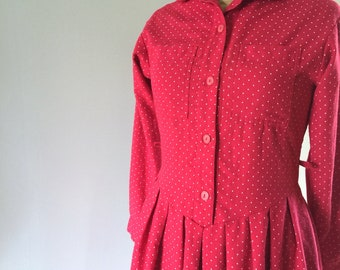 Red Polka Dot Dress, Vintage Dress, 1980s Red Dress, Prairie Dress, New Zealand, Size 6-8 US  8-10 UK