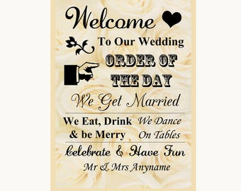 Cream Roses Welcome Order Of The Day Personalised Wedding Sign