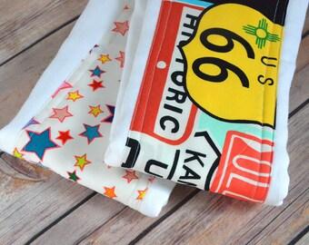 Route 66 Cloth Diaper Burp Cloth Set, Baby Girl Burp Cloth, Baby Boy Burp Cloth, Burp Cloth Set, Cloth Diaper, Burp Rag, Burp Pad, Stars