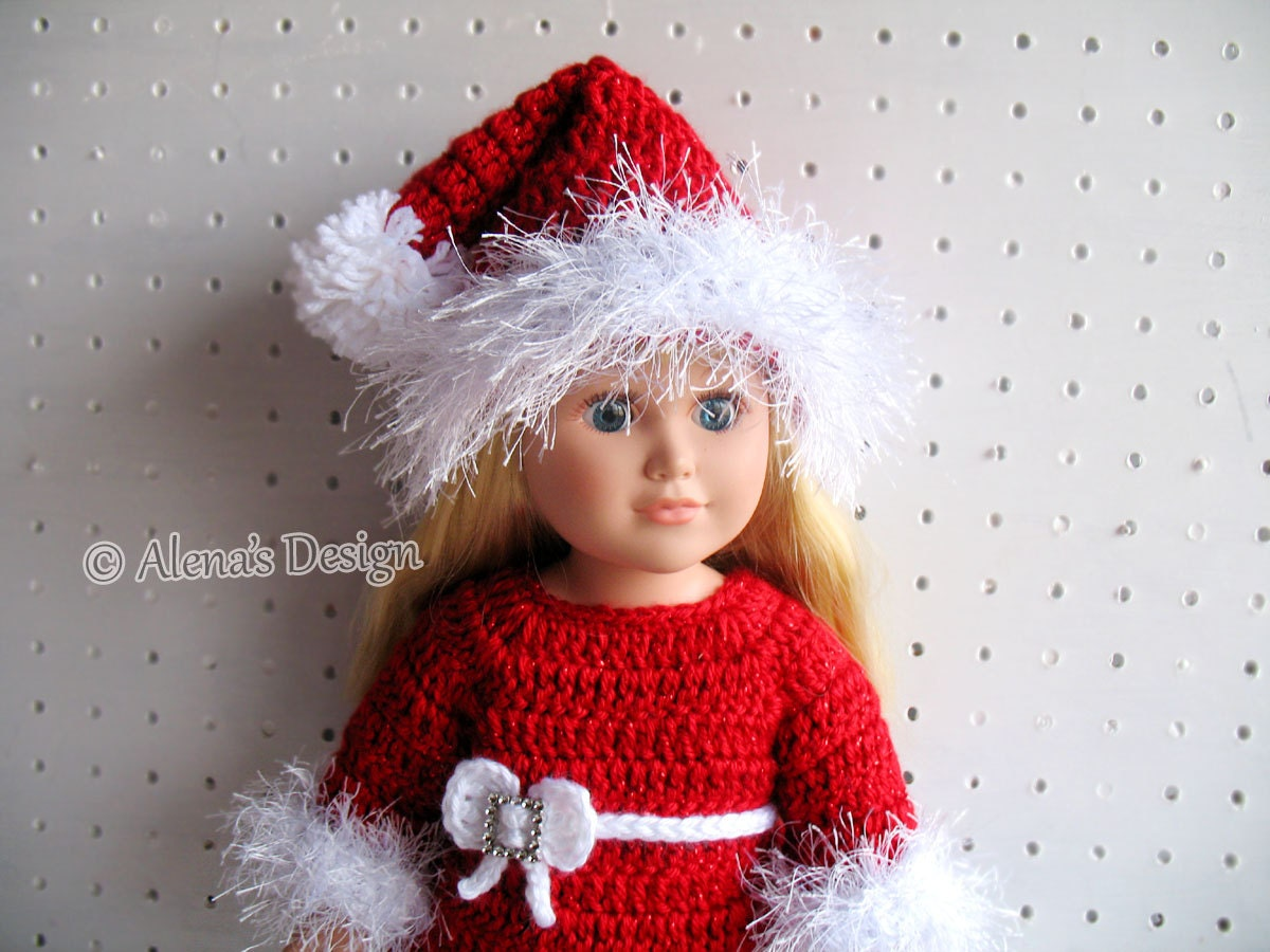Crochet Pattern 3 PC Set for 18 inch Doll Christmas Doll Outfit ...