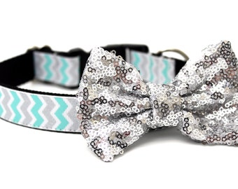 Dog Collar Bow Add-On Silver Sparkle Bow for Dogs