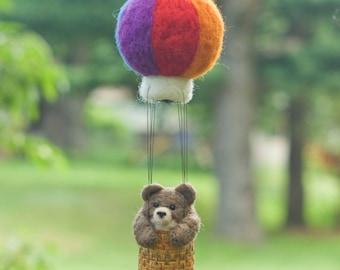 Needle Felted Bear in Hot Air Balloon