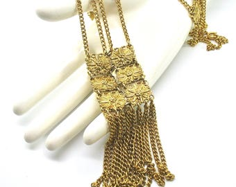 Vintage Bib Necklace, Waterfall, Double Chain, Dangle Chains, Egyptian Revival, Floral Medallions, Gold Tone, Statement Piece, Excellent