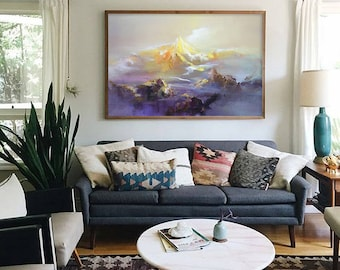 Abstract Painting, Contemporary Art, Large Canvas Art, Extra Large Wall Art Landscape Oil Painting, Blue painting, Original Art Abstract Art