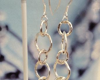 Sterling silver handmade five hoop earrings