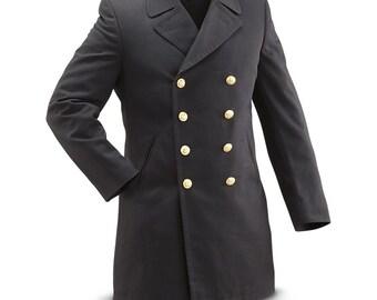 Vintage 1990s Double breasted German Navy Gaberdine Wool Army Trenchcoat Greatcoat trench military overcoat coat bundesmarine