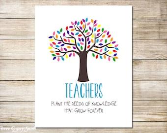 Teacher  Gifts PRINTABLE ART Teacher Appreciation Gift Teachers Plant The Seeds of Knowledge Teacher End Of Year Gift