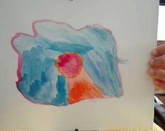 "Framed watercolor ""Flor de mar"""