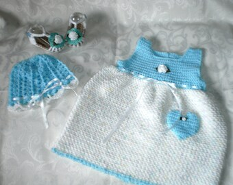 Ensemble de robe coeur peu bleu 3 pièces pendant 12 mois