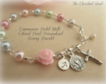 Communion Multi-Colored Pastel Pearl Personalized Rosary Bracelet