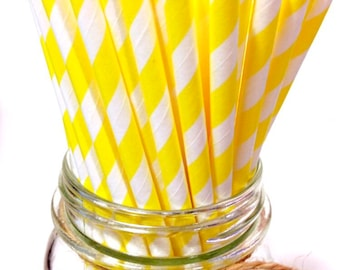 25 Yellow Diagonal Stripes paper straws // baby bridal shower decorations // candy dessert buffet table / Christmas // new year party