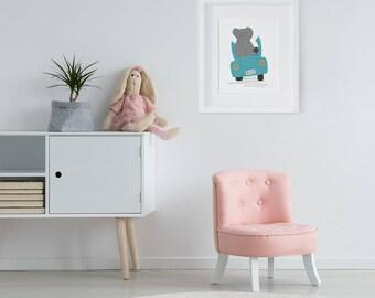 Elephant Illustration, Cute Nursery Print, Car Art, Kids Nursery Wall Art, Prints for Kids, Nursery Art, Zoo Animals, Safari Poster