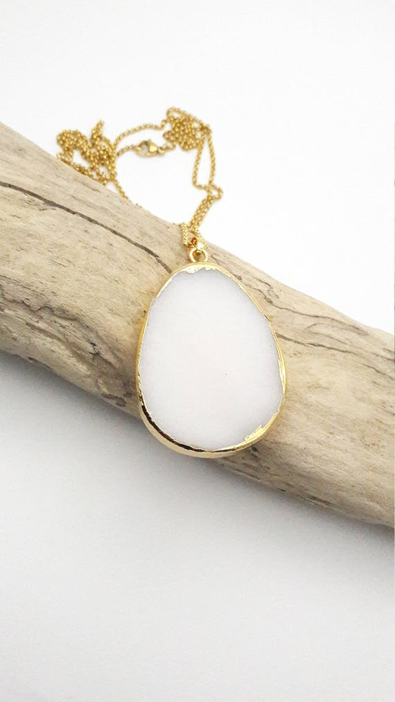 White Jade Teardrop gold dipped long necklace / Hypoallergenic chunky drop gemstone boho natural pendant gold stainless steel chain necklace