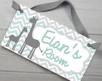 Grey and Light Teal Giraffe Chevron Boys Bedroom Baby Nursery DOOR SIGN Wall Art DS0490