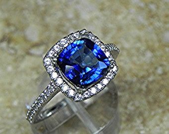 AAAA Blue Sapphire Cushion cut   8x8mm  2.50 Carats   in 14K white gold Halo engagement ring with .30 carats of diamonds H88 MMM