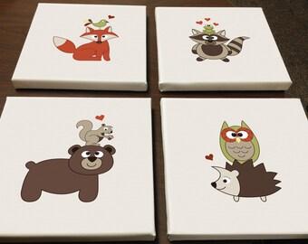 Baby Woodland Animals Canvas Prints