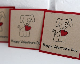 Dog with Heart Happy Valentine's Day Card Set, Mini Cards for School Valentines, Kids Valentine Card Sets, Puppy Valentine Cards