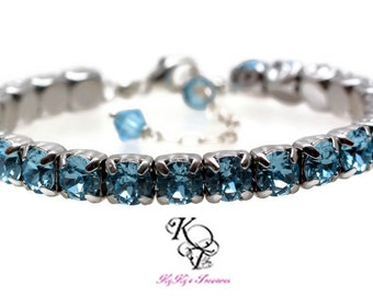 March Birthstone Bracelet, Aquamarine Bracelet, Tennis Bracelet, Swarovski Crystal Bracelet, March Birthday Gift, Birthstone Jewelry