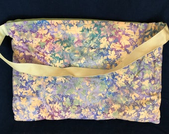 Blanket Bag - Bali Grape Leaves - Opal Pocket - Meadow Green Blanket - Quillow with Carrying Strap (BBG-75-0122-MDOW-B12M)