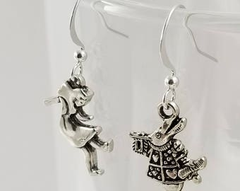 Alice in Wonderland Earrings, White Rabbit and Alice Mismatched Earrings, Alice in Wonderland Jewelry, Mismatched Earrings