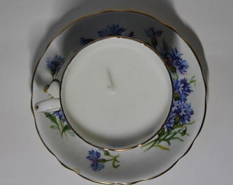 lemon scented candle in vintage tea cup