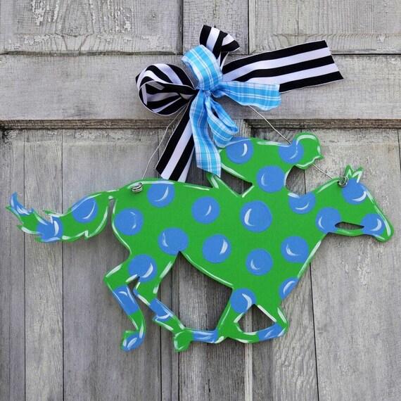 Kentucky Derby party, Kentucky Derby door hanger, Race horse door hanger, Derby door hanger, Horse racing sign, Horse and Jockey sign