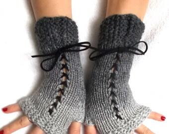 Fingerless Gloves Grey Shades Handknitted Corset  Wrist Warmers for Women Victorian Style