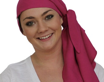 Jessica Pre-Tied Head Scarf - Women's Cancer Headwear, Chemo Scarf, Alopecia Hat, Head Wrap, Head Cover for Hair Loss - Fuchsia Pink