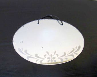 Mid Century Oval Floral Etched Mirror