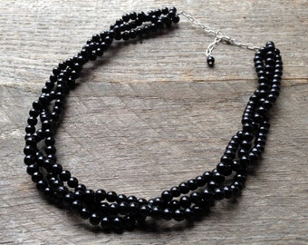 Black Multi Strand Necklace, Pearl Bridal Necklace, Braided Pearl Wedding Necklace on Silver or Gold Chain