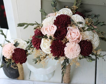Budget Wedding Bouquets, Burgundy Blush Pink Ivory Sola Bouquets,  Peti Sola Bridesmaid Bouquet Set, Burgundy Bouquets, Burgundy Wedding