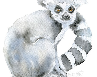 Ring-Tailed Lemur Watercolor Painting 4 x 6 - Giclee Print Reproduction - Nursery Art - Black and White Animal Print