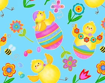 Chicks and Eggs on Blue from Studio E's Spring Has Sprung Collection by Sharla Fults
