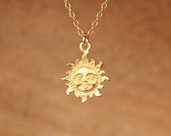 Sun necklace - sunshine necklace - gold sun - you are my sunshine - a little gold vermeil sun pendant on a 14k gold vermeil chain - SML