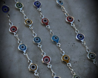Silver Plated Glass Evil Eye Chain