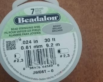 Beadalon Bead Stringing Wire. 7 Strand, .024 Thick 30 foot roll