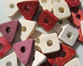 Fun Assortment of  Mykonos Greek Ceramic Squares and Triangle  Beads