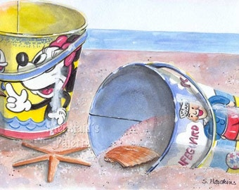 Sand Pails on Beach painting -  art  print of  watercolor painting