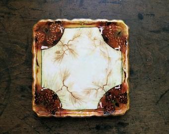 Vintage ANTIQUE Z S & Co MIGNON Bavaria Porcelain TRIVET Pinecone design 1900 signed