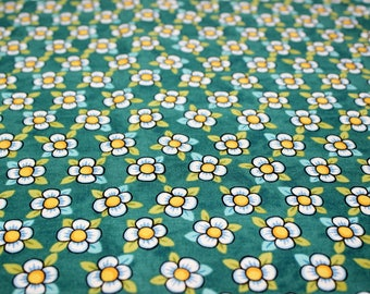 BOHEMIA Flowers on Green Fabric By Julie Paschkis For In The Beginning Fabrics - By The Half Yard