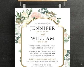 Wedding Invitation Set, Bridal Invitation, RSVP, Wedding, Floral, blush, Sage, Printable, DIY