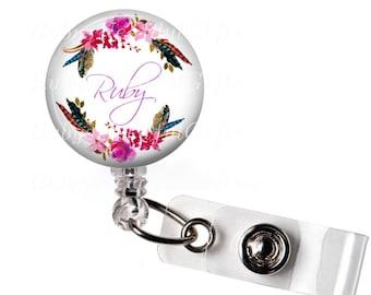 Personalized Badge Reel, Retractable ID Badge Holder, ID Badge Reel, Bottle Cap ID badge reel, Button badge reel, Floral Badge Reel.